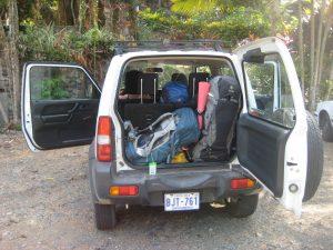 Suzuki Jimny in front of Hostel Plinio, Costa Rica